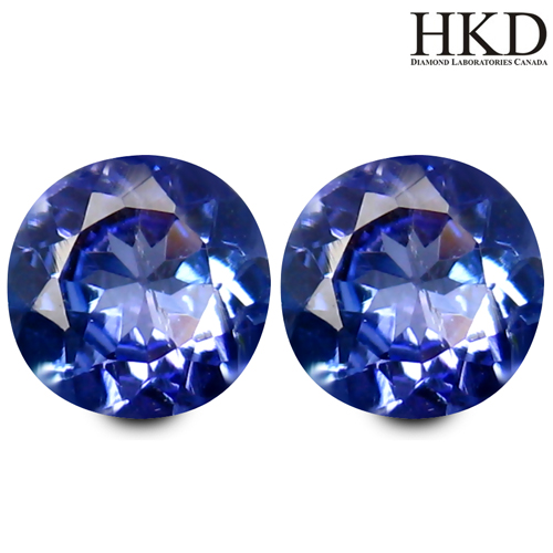 TZ157 Certified Matching Pair VVS Round 1.11ct Tcw Natural Purplish Blue Tanzanite, Tanzania