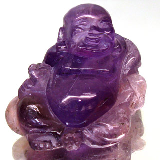 YZ109 Natural Unheated Amethyst Happy Buddha Carved 98.18Ct