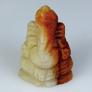 YZ112 Lord Ganesha Carved Natural Petrified Wood 19.25Ct