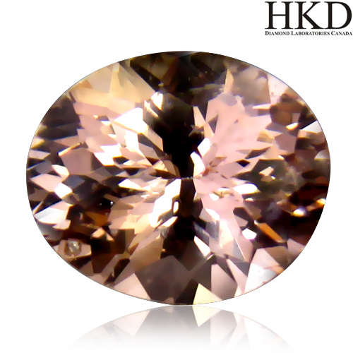 MG103 HKD Certified VS Oval 1.80ct 8.9x7x5.5mm Natural unheated Orangy Pink Morganite Brazil