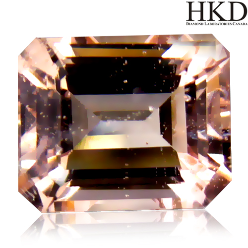 MG101 HKD Certified Octagon 1.94ct 8x6.7x4.6mm Natural unheated Orangy Pink Morganite Brazil