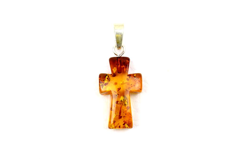 JS004 Natural Baltic amber pendant Cross 0.7gr