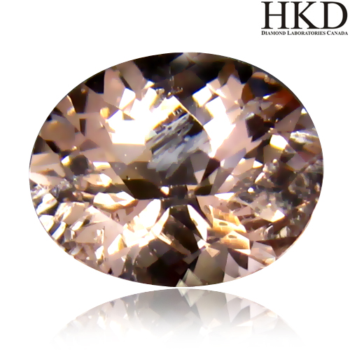 MG105 HKD Certified VS Oval 1.85ct 9x7x5mm Natural unheated Orangy Pink Morganite Brazil