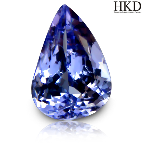 TZ119 Certified VVS Pear 1.77ct 9x6mm Natural Bluish Violet TANZANITE