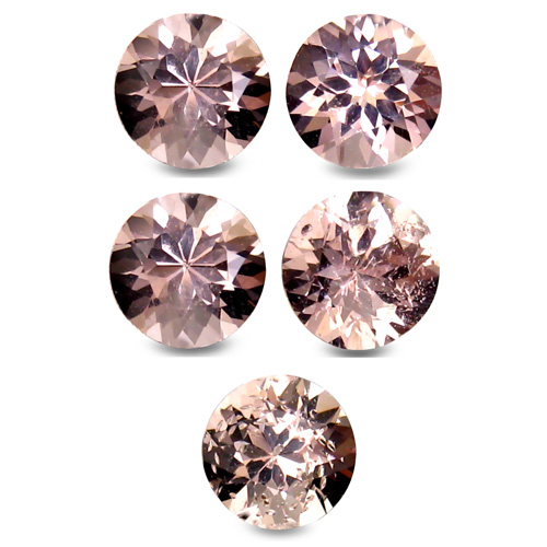 LOT179 Lot 5pcs 3.03ct Tcw Round 5.6mm Unheated Natural Pink Morganite, Brazil
