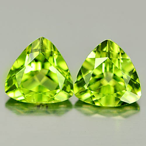 PD808 Matching Pair Trilliant Natural Green Peridot Unheated Untreated 1.71Ct.