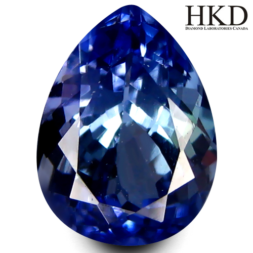 TZ155 VVS Certified Pear 8.6x5.7mm 1.57ct Natural Bluish Violet Tanzanite tanzania