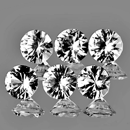 AA131 Lot 6pcs 1.24ct VVS Round Diamond Cut 3.40mm Natural White Zircon