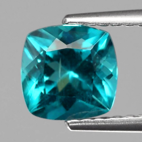 AP117 Cushion 1.38ct 6.5mm Natural Unheated Paraiba-Color Neon Blue Apatite Brazil