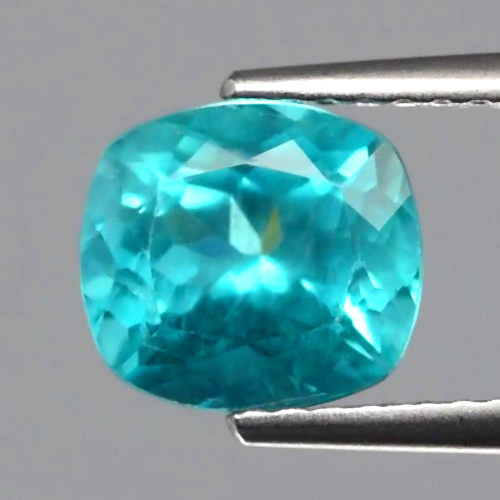 AP118 Cushion 1.92ct 7.7x7mm Natural Unheated Paraiba-Color Neon Blue Apatite Brazil