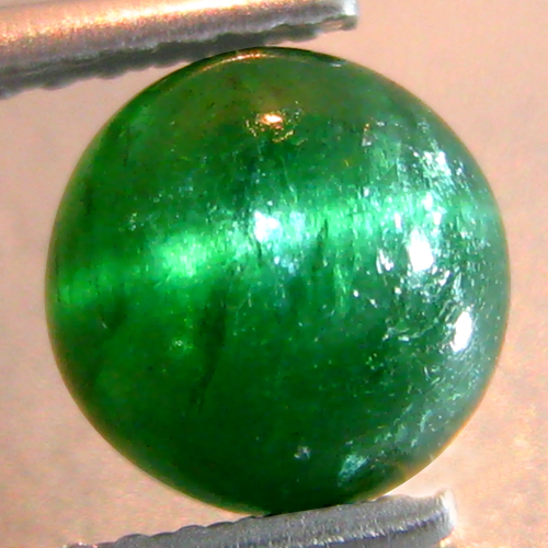 AP173 Round Cabochon 2.19cts 7.3mm Unheated Natural Green Apatite Cat's Eye, Brazil
