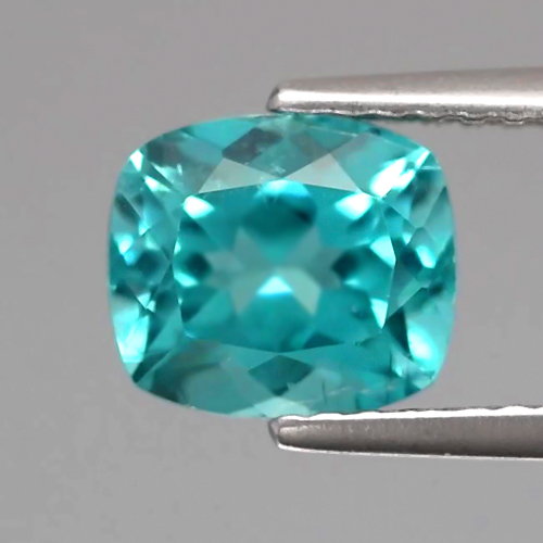 [AP190] Cushion 1.62ct 7.3x6.3x4.7mm Natural Unheated Paraiba-Color Neon Blue Apatite, Brazil