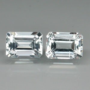 AQ106 Pair Emerald Cut 7x5mm 1.95ct tcw Natural Unheated Aquamarine Brazil