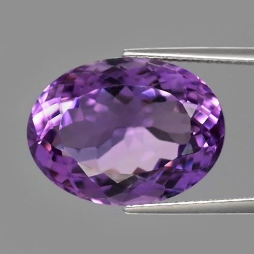 AT119 Certified Oval 11.41ct 17x13x8.6mm VVS Natural Unheated Rich Purple Amethyst Uruguay