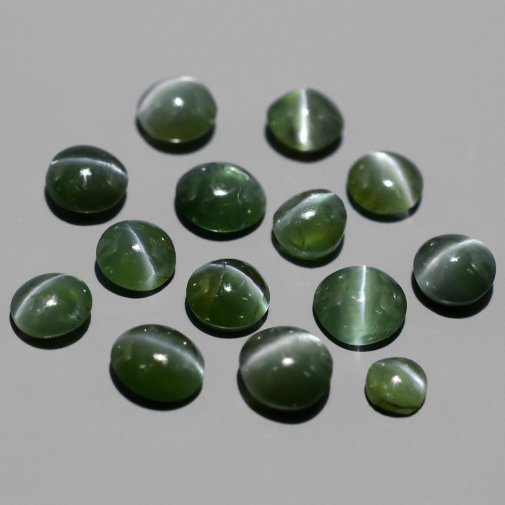 AXD005 Lot 2.11tcw 2.2-3.3mm Round Cabochon Natural Green Sharp Cat's Eye Alexandrite