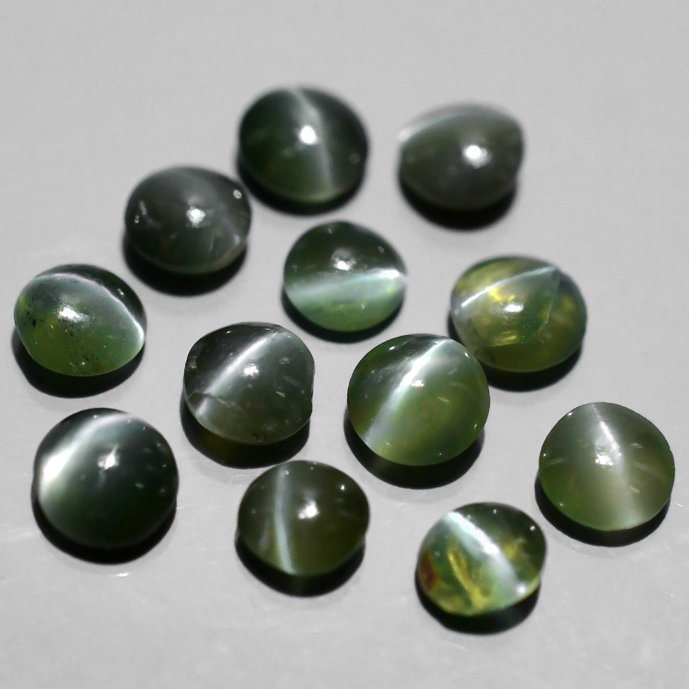 AXD008 LOT 12pcs/2.01tcw Round Cabochon Natural Green Sharp Cat's Eye Alexandrite