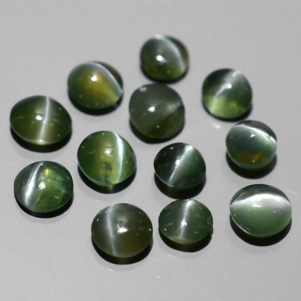 AXD007 Lot 2.8-3.3mm Round Cabochon Natural Green Sharp Cat's Eye Alexandrite 2.04Ct