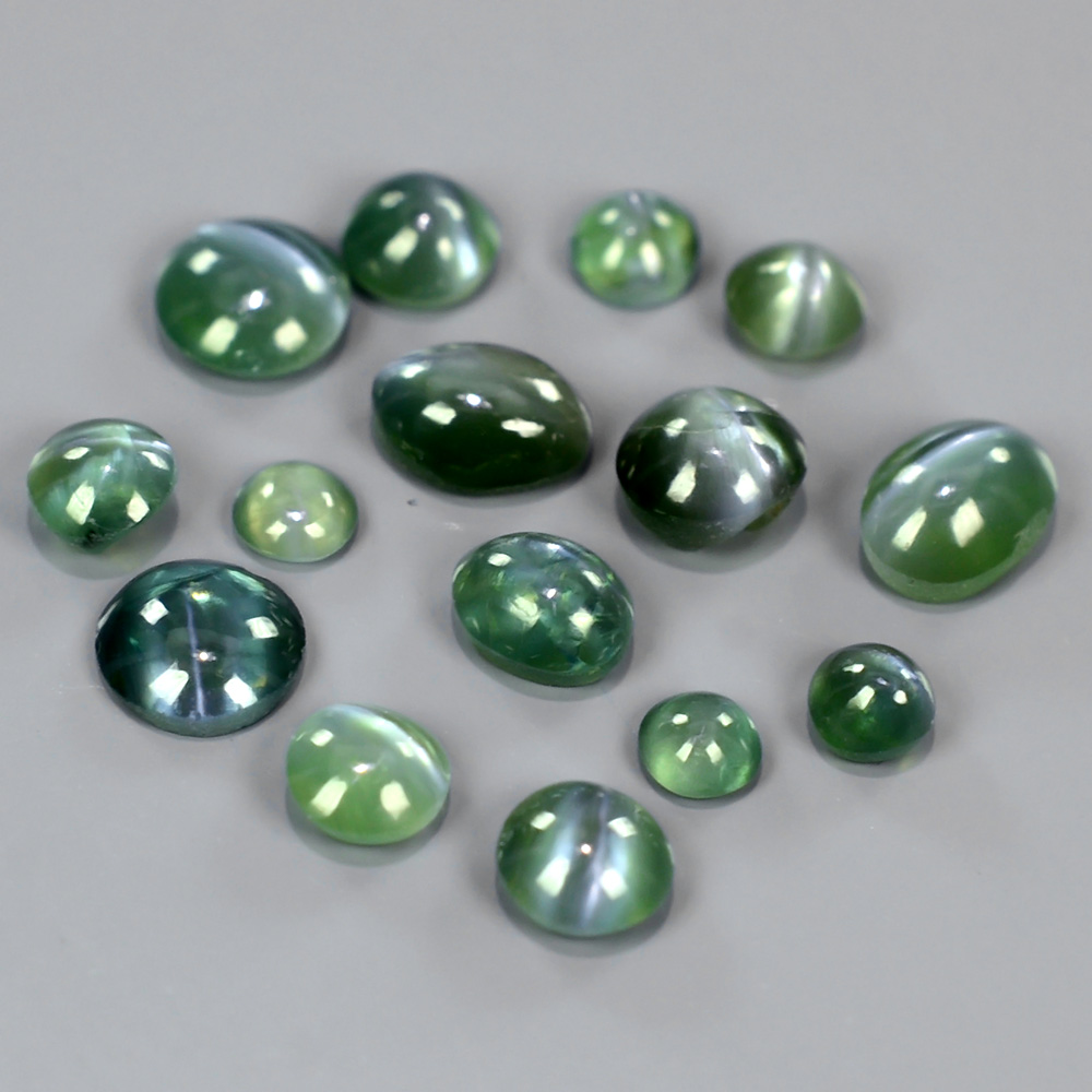 AXD004 Lot 2.07tcw Round & Oval Cabohon Natural Green Sharp Cat's Eye ALEXANDRITE
