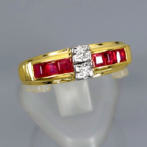 [AY099] Natural Red Ruby Burma 0.90ct Tcw With G Color Diamond Ring 14K Solid Gold 3.14gr