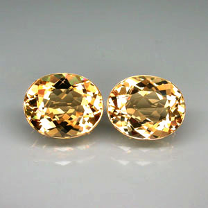 BL109 VVS Pair Oval 6.98ct tcw. 11x9x5.7mm Natural Unheated Golden Yellow Beryl Brazil