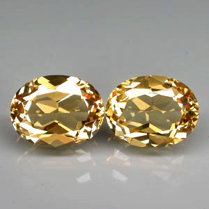 BL130 VVS Pair Oval 3.60ct tcw. 9x7mm Natural Unheated Golden Yellow Beryl, Brazil