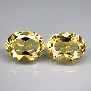 BL131 VS Pair Oval 3.10ct tcw. 9x7mm Natural Unheated Golden Yellow Beryl, Brazil