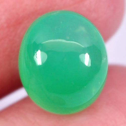 CH107 Oval Cabochon 5.91ct 12x10x7mm Natural Unheated Green Chalcedony Namibia