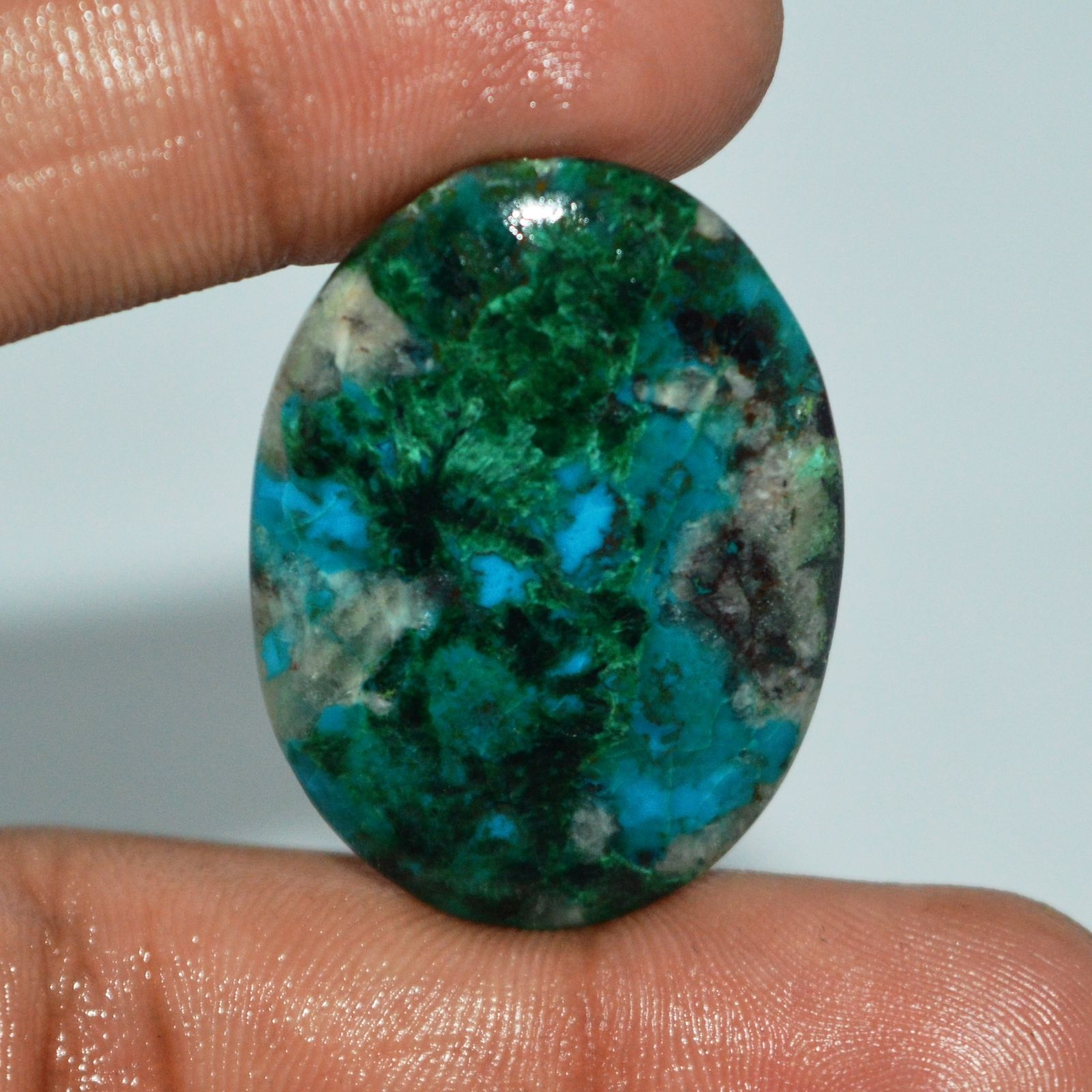 CS101 Oval Cabochon 41.50ct 26x35x5mm Untreated Natural Malachite Crysocolla, Africa
