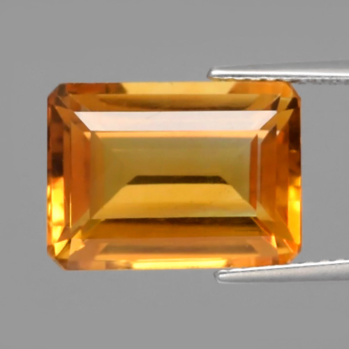 [CT115] Certified VS Octagon 8.13ct 13x10x7mm Natural Medium Orangey Yellow Citrine, Brazil
