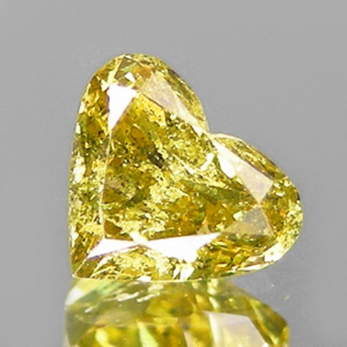 [DD003] Heart Fancy Greenish Yellow Natural Diamond 0.25ct Natural Color!