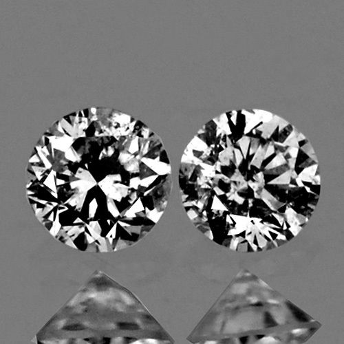 DD007 Untreated Matching Pair Round Diamond Cut 2.00mm 0.08Ct/2Pcs Natural Diamond D-F Color