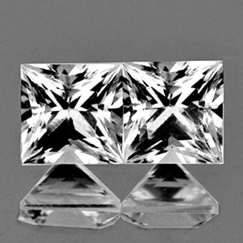 DD008 VVS Untreated Matching Pair Square Princess Cut 1.70 mm 0.07Ct/2Pcs Natural Diamond D-F Color