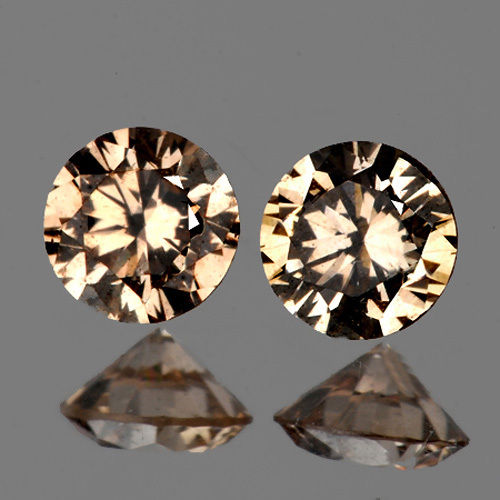 DD011 Match Pair VVS 0.07Cts/2 Pcs Round Diamond Cut 1.80MM Natural AAA Champagne DIAMOND