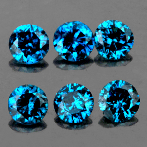 [DD088] Lot 0.09ct/6pcs Round Diamond Cut 1.50mm Natural Blue Diamond