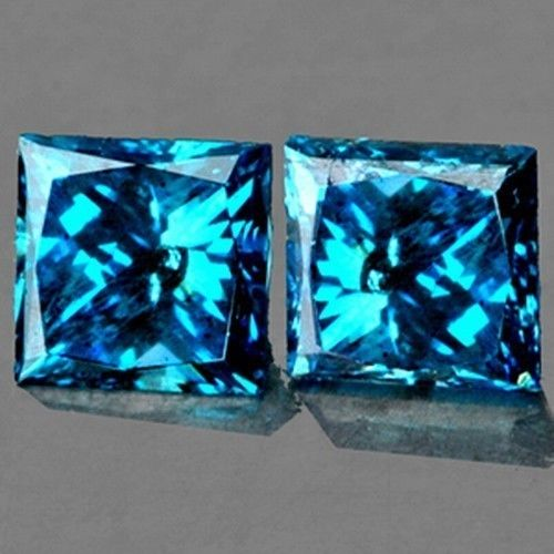 DD092 VVS Matching Pair 0.10Ct/2Pcs Square 1.9mm Sparkling Blue Diamond