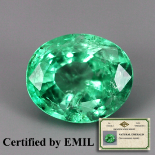 [EM099] Emil Certified Oval 0.61ct 5.9x4.9mm Natural Shamrock Green Emerald Colombia