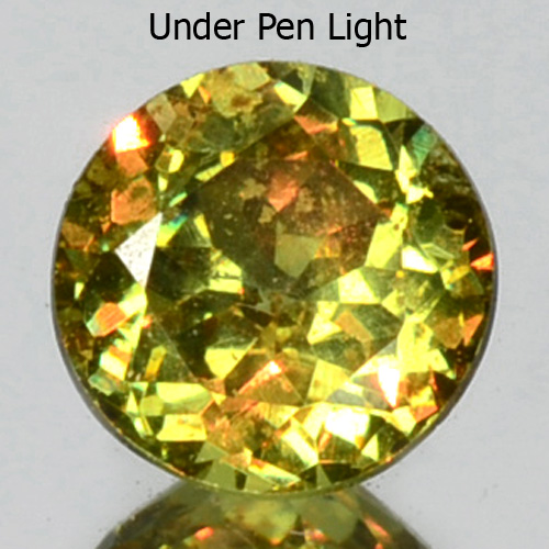 GD093 Round 0.37ct 4.12x2.57mm Horesetail Signature Green Color Natural Demantoid Garnet