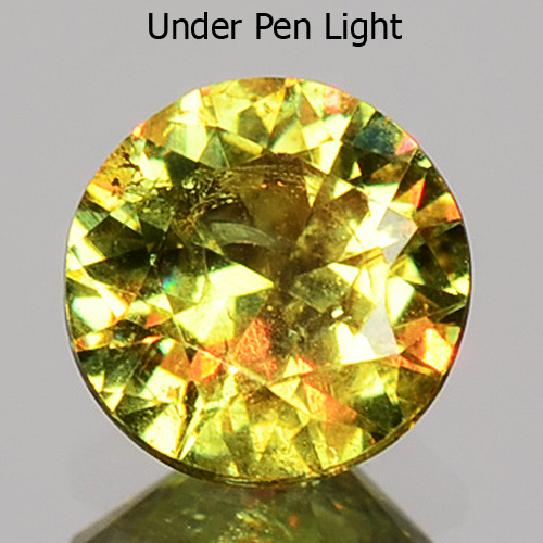 GD096 Round 0.33ct 4.3x2.5mm Horesetail Signature Green Color Natural Demantoid Garnet