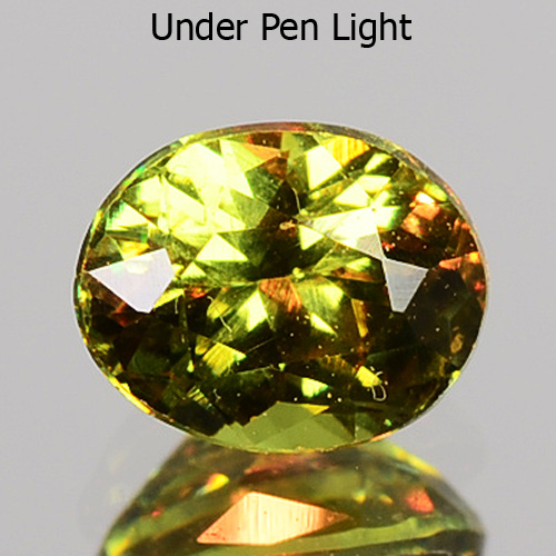 GD098 Oval 0.37ct 4.5x3.5mm Horesetail Signature Green Color Natural Demantoid Garnet