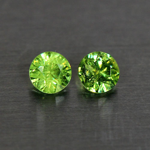 GD115 Pair Round 0.65ct tcw 4.1mm Natural Green Demantoid Garnet