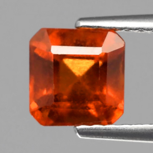 GH090 Octagon 1.77ct 6mm Natural Unheated Untreated Reddish Orange Hessonite Garnet