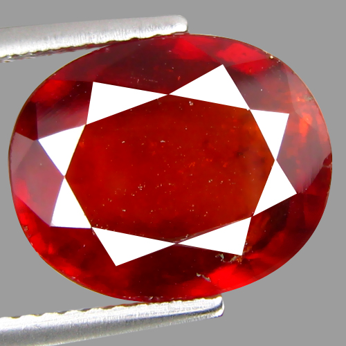GH199 Oval 7.07ct 12x10x6mm Natural Unheated Redish Orange Hessonite Garnet Srilanka