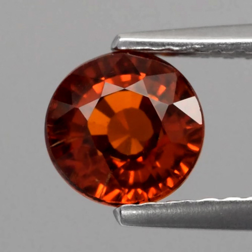 GS105 Round 1.30ct 5.7x4.0mm Natural Medium Reddish Orange Spessartite Garnet, Namibia