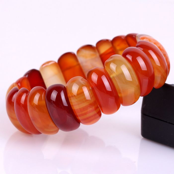 JAG001 Natural Agate Beads Bracelet Stretch Stone Bangle 328.5ct