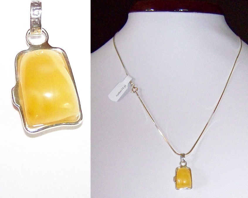 JAR106 Natural Baltic Amber Pendant Sterling Silver 925