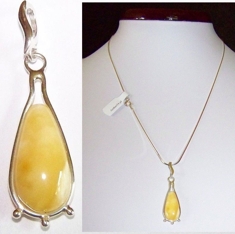 JAR108 Natural Baltic Amber Pendant Sterling Silver 925