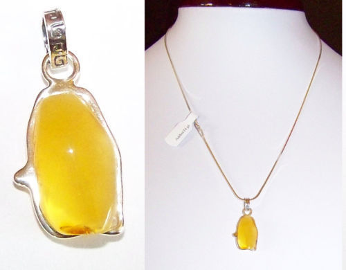 JAR111 Natural Baltic Amber Pendant Sterling Silver 925