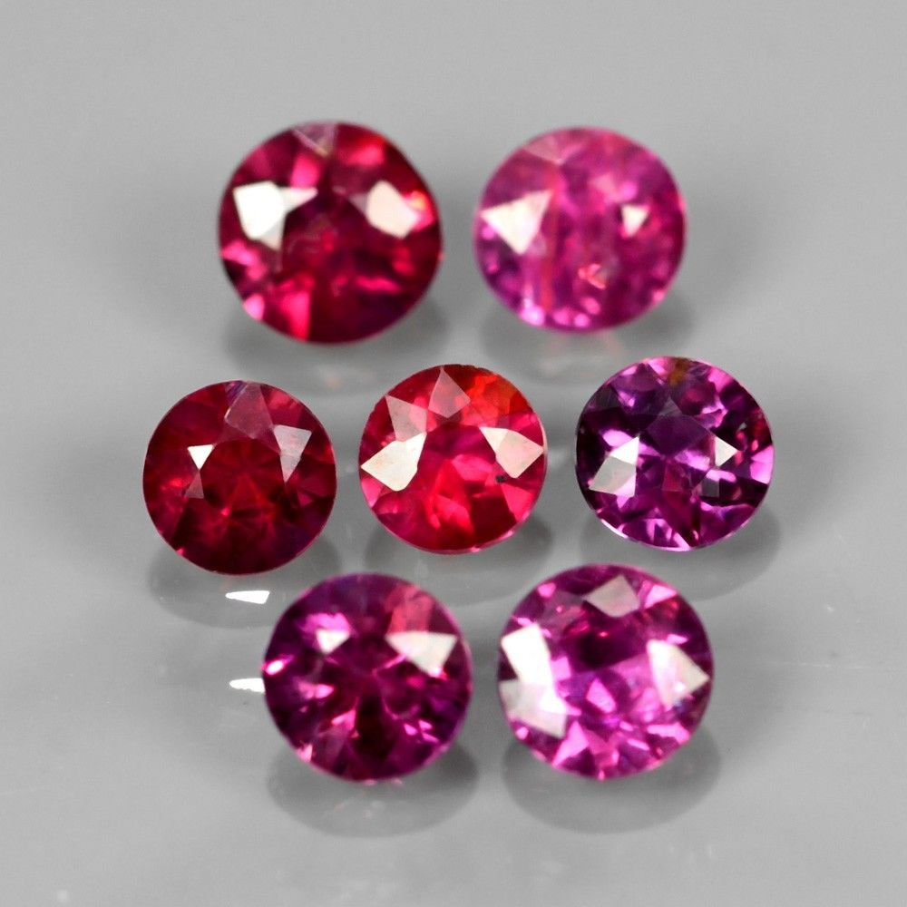 [LOT015] Lot 7pcs/1.12ct t.w 3-3.5mm Round Natural Unheated Untreated Fiery Pinkish Red RUBY