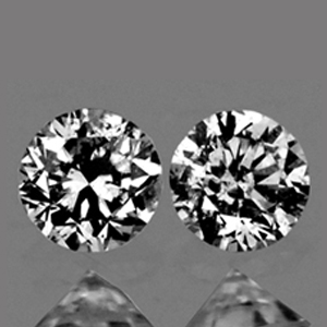 LOT027 VVS Pair Round Diamond Cut 2.1mm 0.07ct/2pcs Color D-F Natural Untreated Diamond