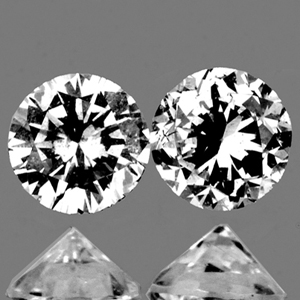 LOT028 Pair Round Diamond Cut 1.8mm 0.05ct/2pcs Color F-G Natural Untreated Diamond